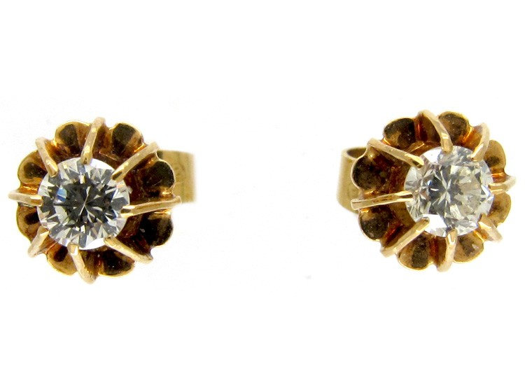 Diamond Solitaire 18ct Gold Edwardian Earrings