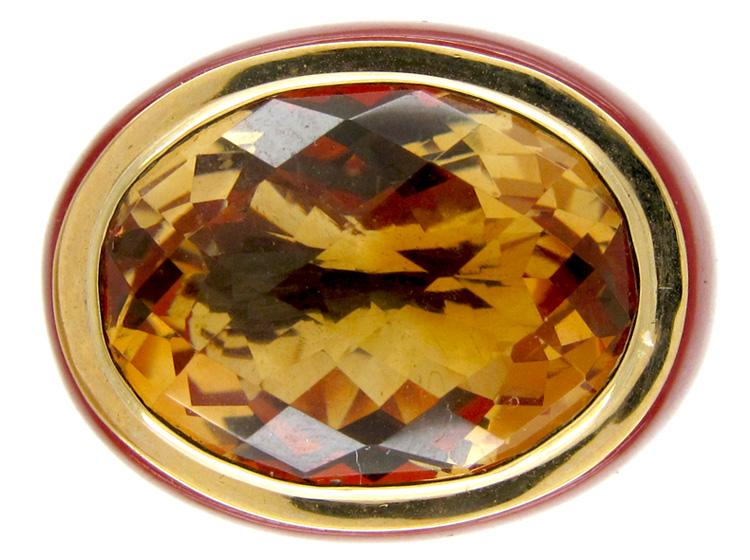 Citrine & Cornelian 1970s Gold Ring