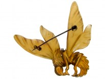 Art Nouveau Carved Horn Bee Brooch