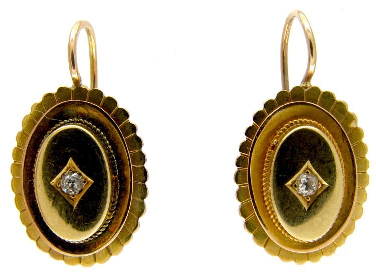 Vitorian 15ct Gold Oval Diamond Set Earrings