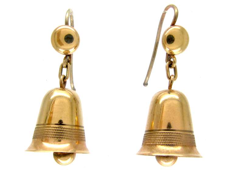 Gold Drop Bell Earrings