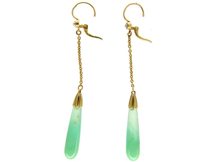 Jade & Gold Art Deco Earrings