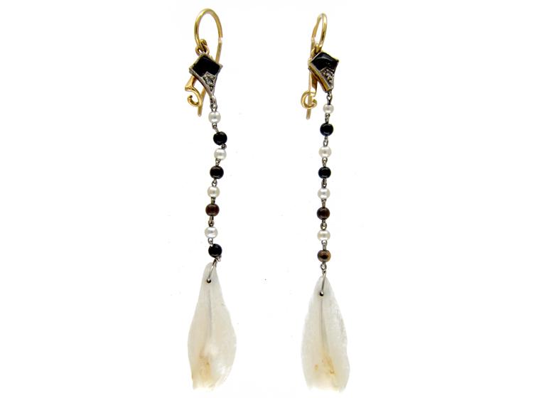 Art Deco Onyx & Mississipi Pearls Earrings
