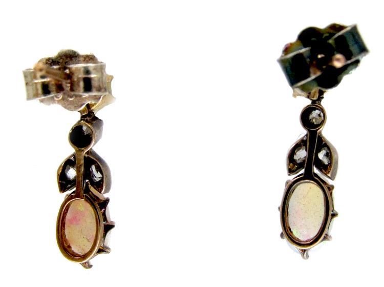 Opal & Diamond Organic Style Earrings