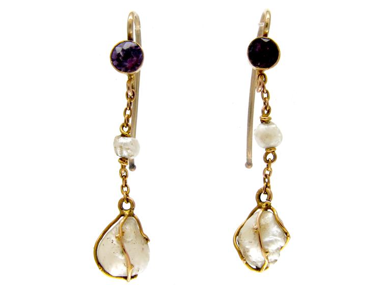 Amethyst & Caged Pearl Drop Earrings