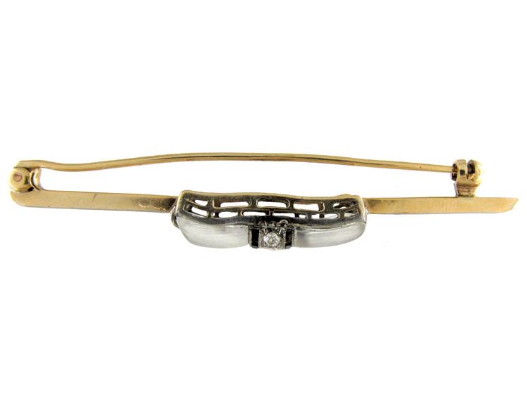 Art Deco Moonstone, Onyx & Diamonds Bow Brooch