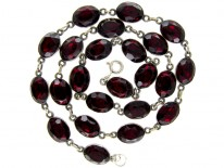 Garnet Paste Silver Early Victorian Necklace