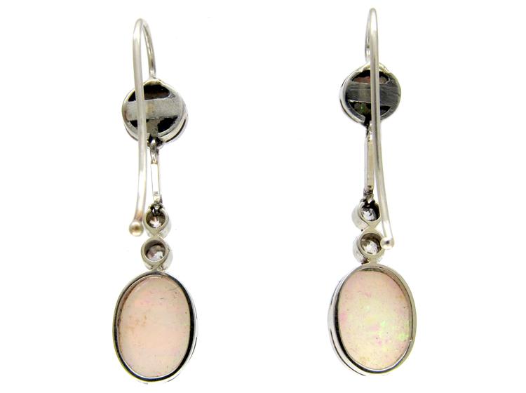 Opal & Diamond Drop Earrings