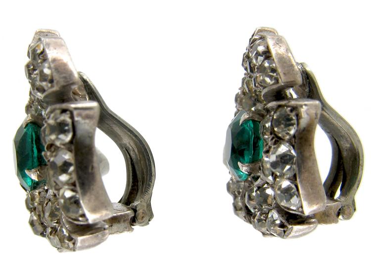 Green & White Paste Edwardian Earrings