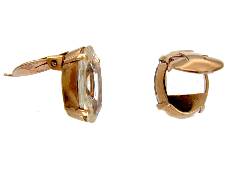 Citrine Gold Clip Earrings