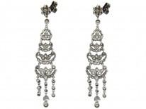 Edwardian Platinum & Diamond Long Drop Earrings