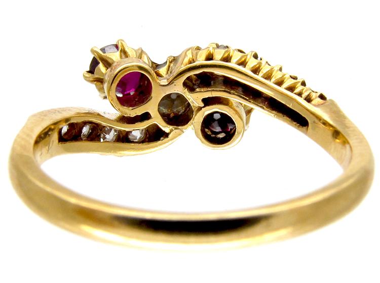 Ruby & Diamond Art Nouveau Crossover Ring