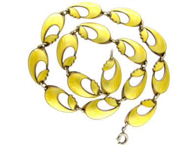Yellow Enamel Norwegian Silver Necklace