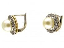 Pearl & Rose Diamond Cluster Earrings