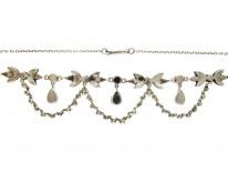 Green & White Paste & Silver Edwardian Necklace