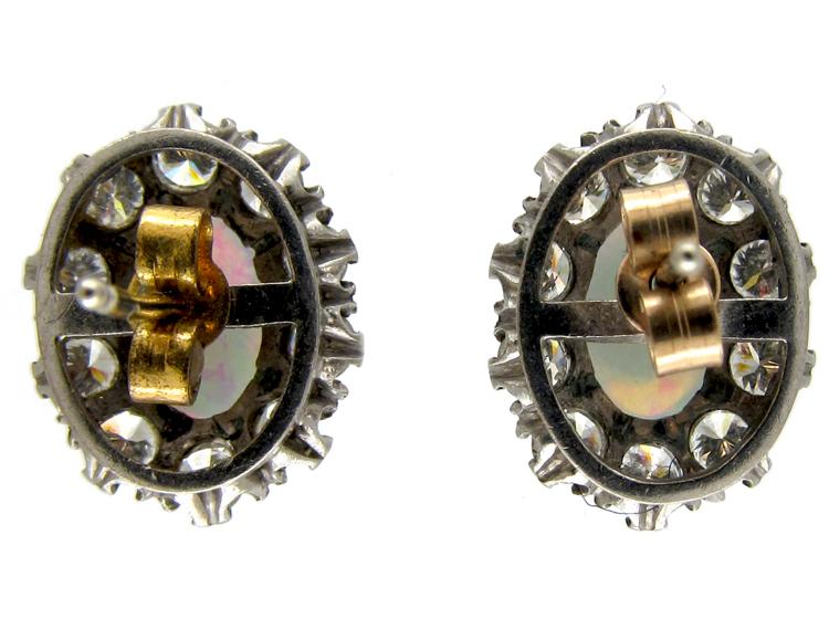 Opal & Diamond Cluster Earrings