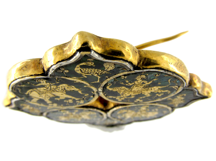 Indian Gold & Green Glass Patakbar Brooch