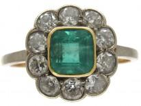 Edwardian Emerald & Diamond Cluster Ring