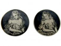Victorian Silver & Niello Large Studs of Erotic Ladies