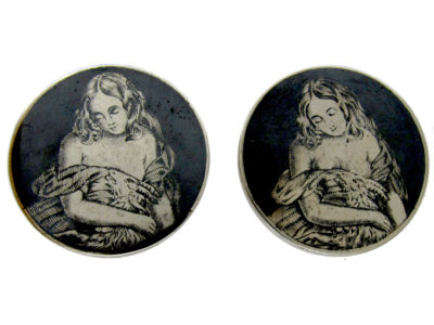 Victorian Silver & Niello Large Studs of Erotic Ladies