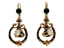 Diamond & Black Enamel Drop Victorian Earrings