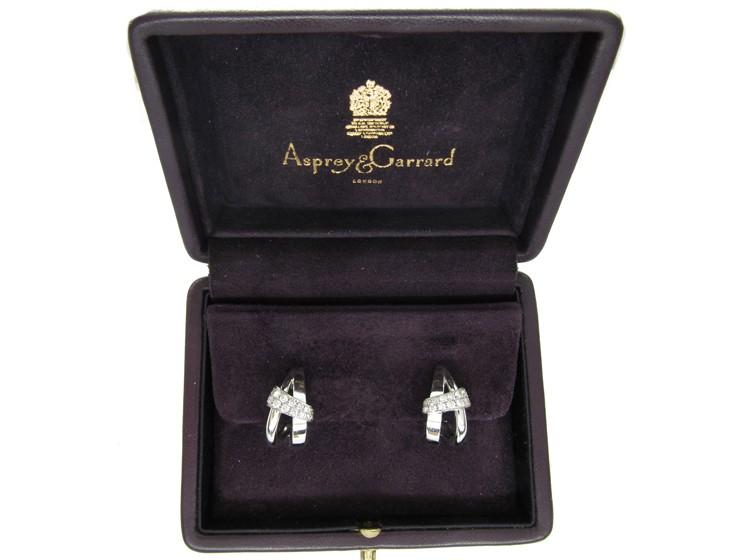 Asprey 18ct White Gold & Diamond Double Hoop Earrings