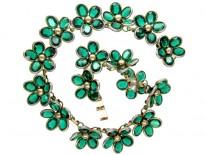 Trifari Green Paste Necklace