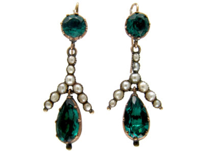 Georgian Green Paste & Pearl Gold Drop Earrings