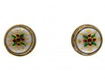 Silver Gilt & Enamel Round Earrings