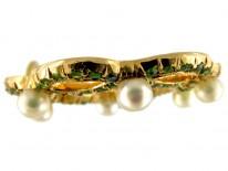 Green Garnet & Pearls Edwardian 15ct Gold Wreath Pendant
