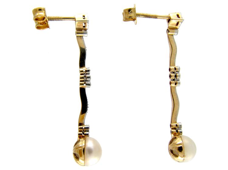 Edwardian Delicate Pearl & Diamond Drop Earrings