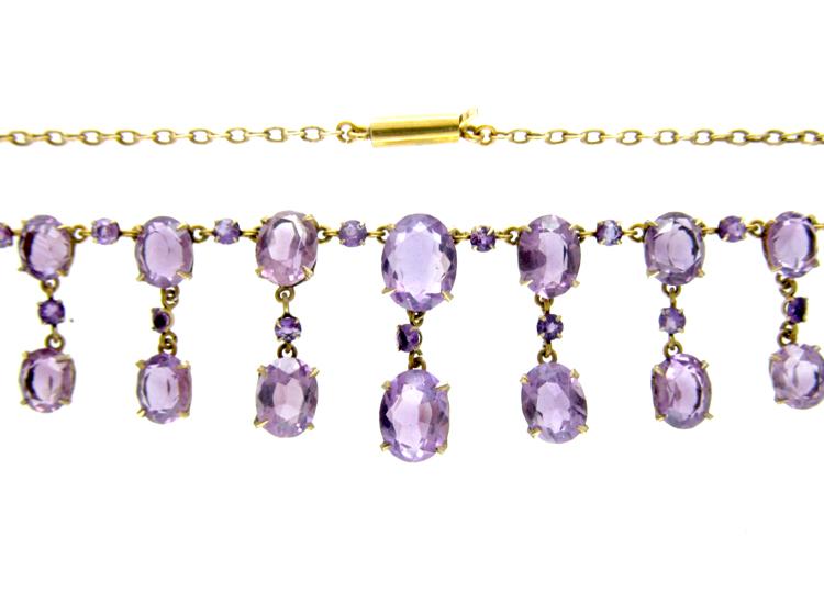 Edwardian Silver Gilt Amethyst Drops Necklace