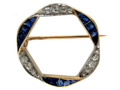 Burma Sapphire & Diamond Wreath Brooch