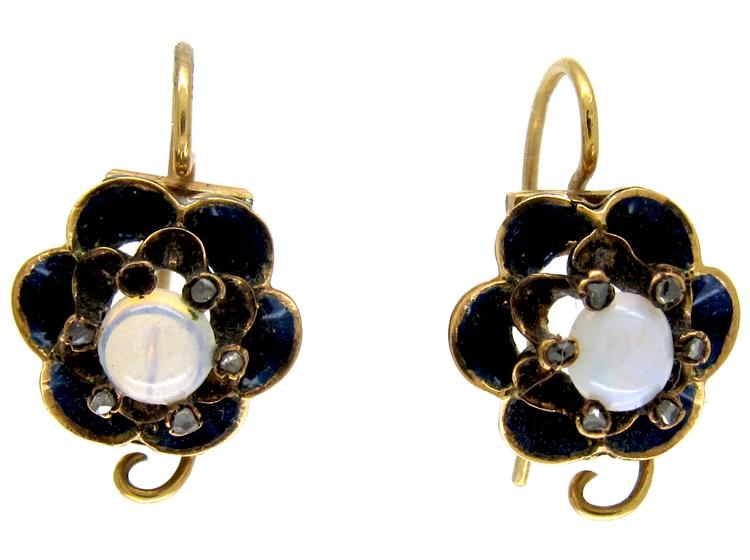 Opal & Diamond French Earrings