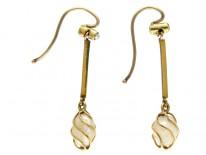 Caged Pearl Gold Drop Edwardian Earrings