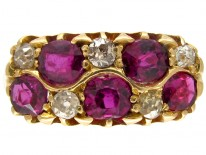 Ruby & Diamond Chequerboard Victorian Ring