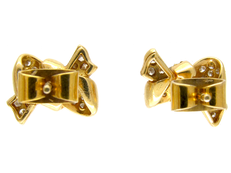 18ct Gold Diamond Bow Earrings