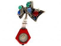 Art Deco Enamel & Marcasite Silver Watch
