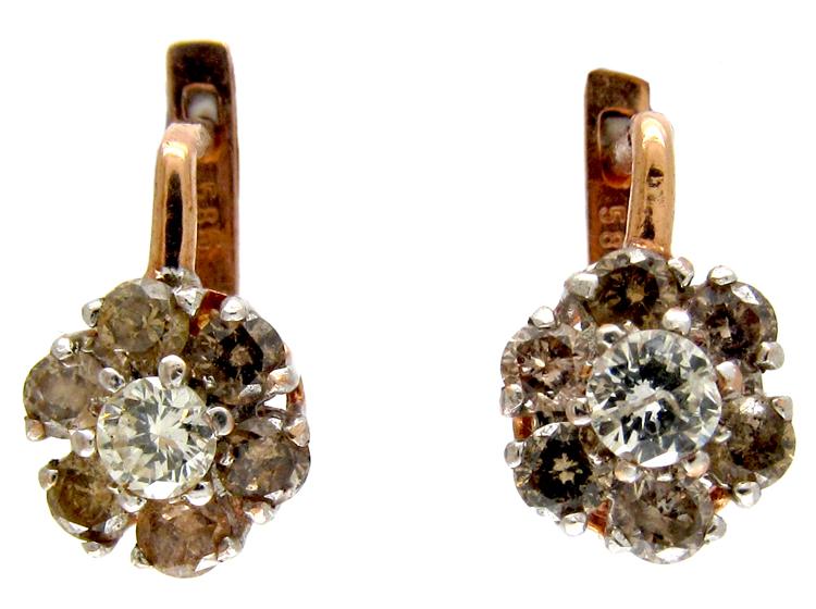Cinnamon & White Diamond Cluster Earrings