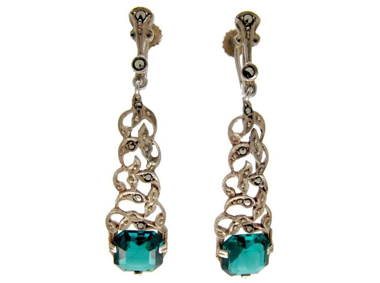 Marcasite & Green Paste Art Deco Earrings