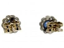 Ceylon Sapphire & Diamond Edwardian Cluster Earrings