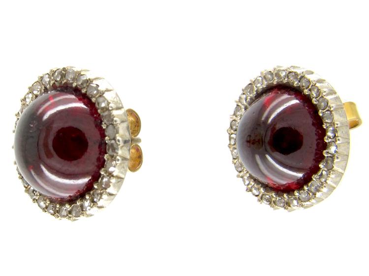 Cabochon Garnet & Diamond Victorian Stud Earrings