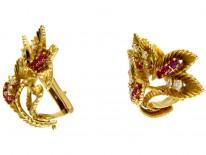 Ruby & Diamond Earclips