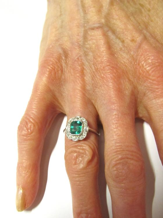 Emerald & Diamond Rectangular Art Deco Ring