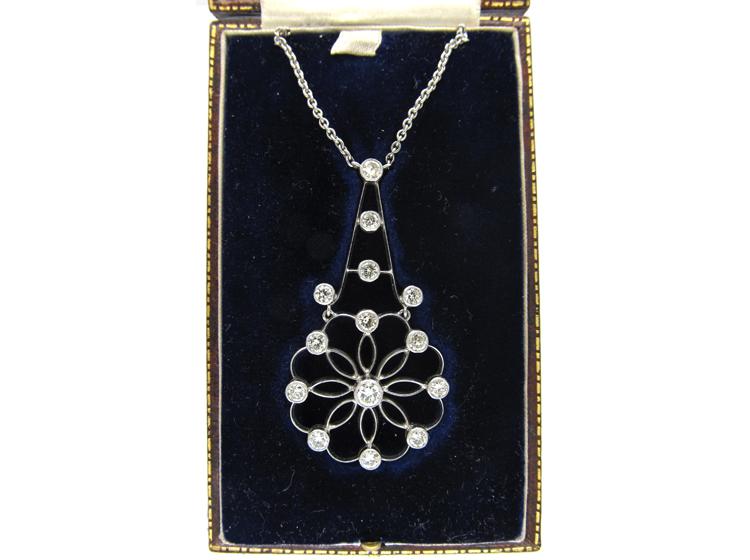 Art Deco Diamond Flower Drop Pendant