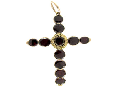 Georgian Flat Cut Garnet Cross