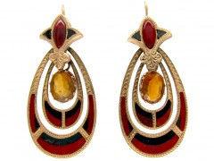 Victorian 15ct Gold & Hardstone Scottish Earrings