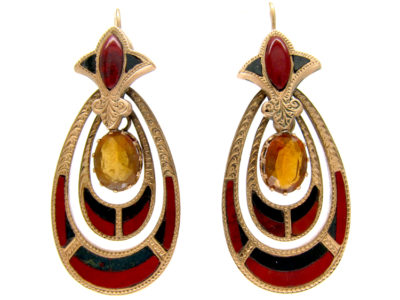 Victorian 15ct Gold & Hardstone Scottish Earrings