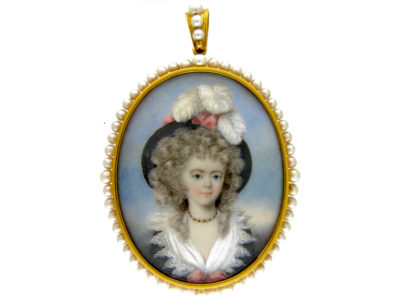Regency 18ct Gold Miniature attributed to Georgiana Duchess of Devonshire