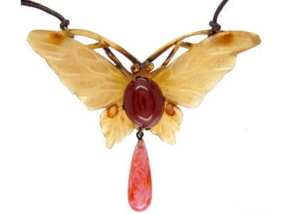 Elizabeth Bonté Art Nouveau French Horn Butterfly Pendant